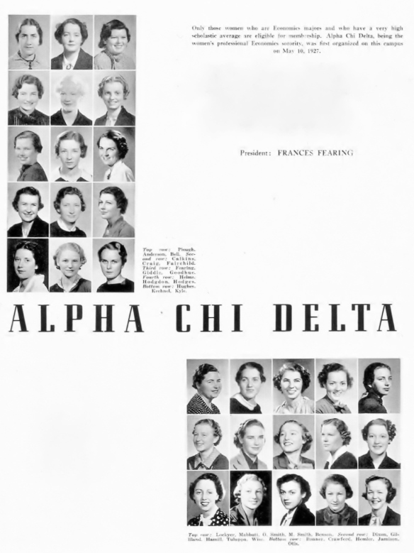 The women of the UCLA honors economics sorority, 1937...""