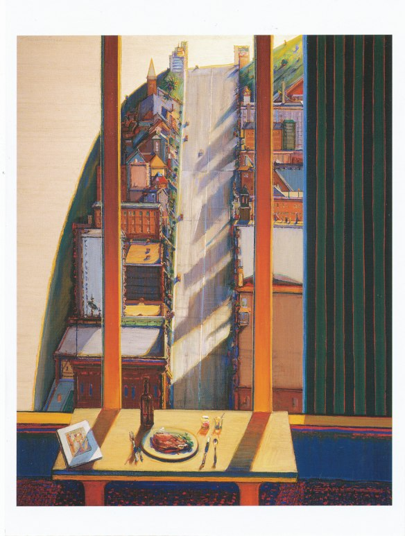 The Last Postcard: Wayne Thiebaud's Apartment View 1993 Oil on canvas licensed by VAGA, New York, NY, published by Pomegranate AA280993
