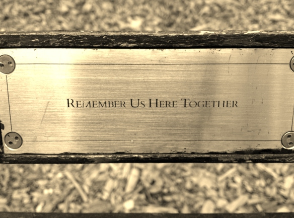 Bench in Central Park--Remember Us Here Together-- Photo by Hallie Swift