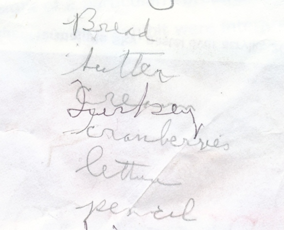A Swift Current Thanksgiving list found in my mom's last papers